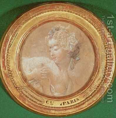 Young Girl Squeezing her Breast by Jean-Honore Fragonard - Reproduction Oil Painting
