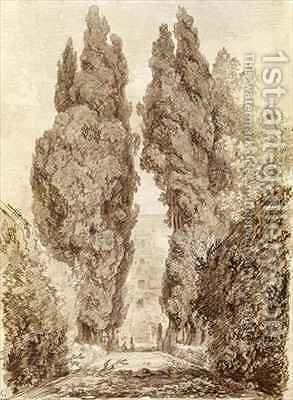Large Cypresses at the Villa dEste by Jean-Honore Fragonard - Reproduction Oil Painting