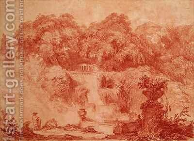 Gardens of the Villa dEste from the foot of the waterfall by Jean-Honore Fragonard - Reproduction Oil Painting
