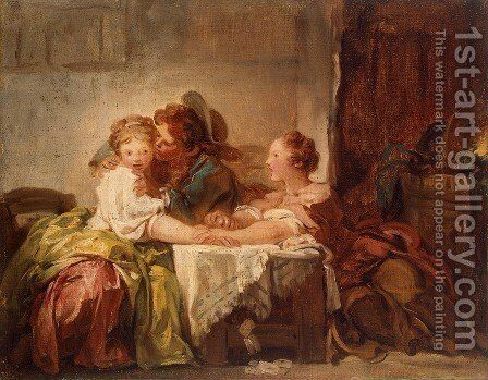 The Prize of a Kiss by Jean-Honore Fragonard - Reproduction Oil Painting