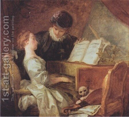 The Music Lesson by Jean-Honore Fragonard - Reproduction Oil Painting