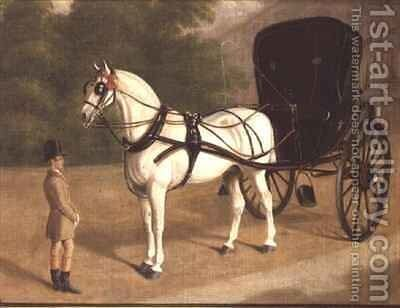 A Grey Horse and Cabriolet with Groom by E.M. Fox - Reproduction Oil Painting