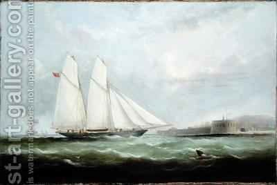 Schooner Yacht Esmeralda Approaching Cherbourg by Arthur Wellington Fowles - Reproduction Oil Painting