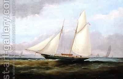 A Schooner Yacht under Easy Sail with her Foresail Lowered by Arthur Wellington Fowles - Reproduction Oil Painting