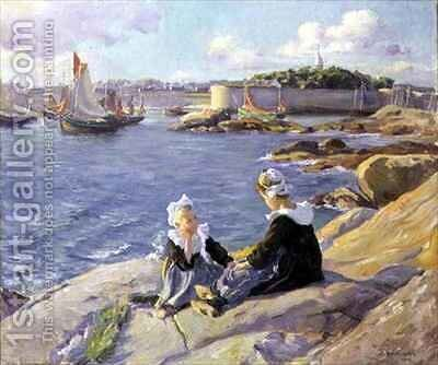 Breton Girls by the Harbour Concarneau by Alfred-Victor Fournier - Reproduction Oil Painting