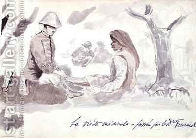 Dr Fournial treating a Native during the Foureau Lamy Expedition of 1899 by Henry Dr. Fournial - Reproduction Oil Painting