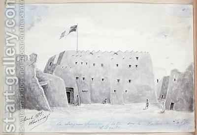 The French Flag flying above the Palace of the Sultan of Agadez Niger by Henry Dr. Fournial - Reproduction Oil Painting