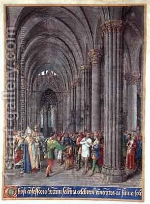 St Veran exorcising the possessed in the north aisle of the Cathedral of Notre Dame de Paris by Jean Fouquet - Reproduction Oil Painting