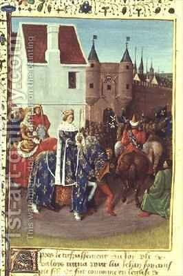 Entry into Paris of King Jean II 1319-64 Le Bon and Queen Jeanne of Boulogne by Jean Fouquet - Reproduction Oil Painting