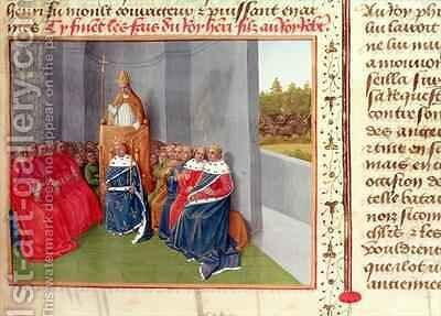 Urban II 1035-99 Preaching the Crusade at Clermont in the Presence of King Philippe I 1053-1108 of France in 1095 by Jean Fouquet - Reproduction Oil Painting