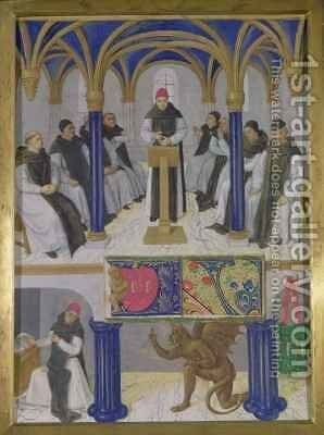 St Bernard Abbot of Clairvaux 1090-1153 from the Hours of Etienne Chevalier by Jean Fouquet - Reproduction Oil Painting