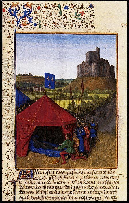 The Death of Bertrand du Geusclin 1320-80 at Chateauneuf de Randon by Jean Fouquet - Reproduction Oil Painting