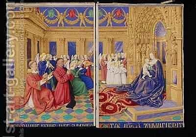 Etienne Chevalier and his Patron St Stephen Paying Homage to the Virgin and Child by Jean Fouquet - Reproduction Oil Painting