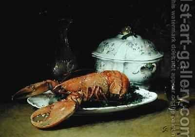 Still Life with a Lobster and a Soup Tureen by Guillaume-Romain Fouace - Reproduction Oil Painting