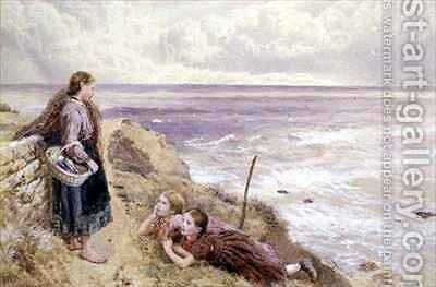 On Cullercoats Cliffs by Myles Birket Foster - Reproduction Oil Painting