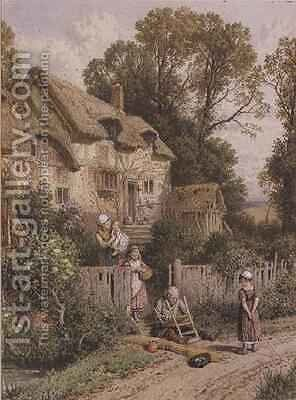 The Chair Mender by Myles Birket Foster - Reproduction Oil Painting