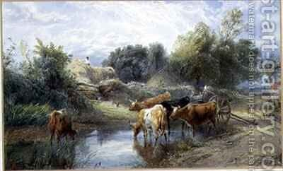 Watering Time by Myles Birket Foster - Reproduction Oil Painting