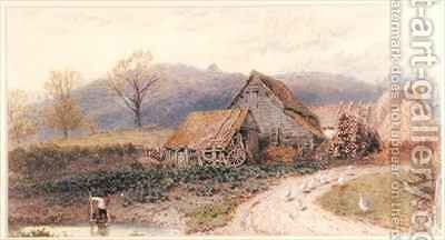 Landscape with a Farm by Myles Birket Foster - Reproduction Oil Painting