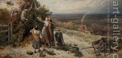 Holly Gatherers by Myles Birket Foster - Reproduction Oil Painting