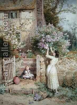 The Lilac Cottage by Myles Birket Foster - Reproduction Oil Painting
