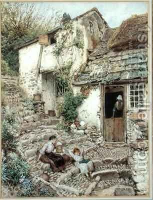 Young Girls At Rest On Cobbled Steps by Myles Birket Foster - Reproduction Oil Painting