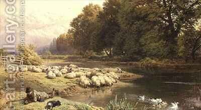 Shepherd and his Flock by a River by Myles Birket Foster - Reproduction Oil Painting