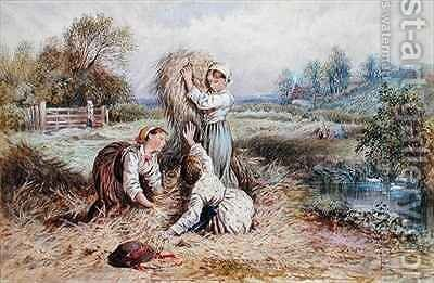 Children playing in a meadow by Myles Birket Foster - Reproduction Oil Painting