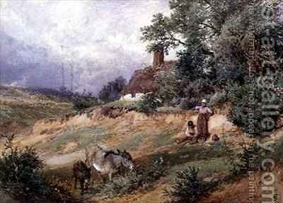 Children and Donkeys by a Heath Cottage by Myles Birket Foster - Reproduction Oil Painting