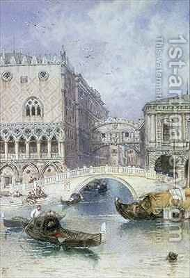 The Bridge of Sighs Venice by Myles Birket Foster - Reproduction Oil Painting