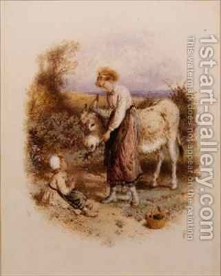 Feeding Donkey by Myles Birket Foster - Reproduction Oil Painting