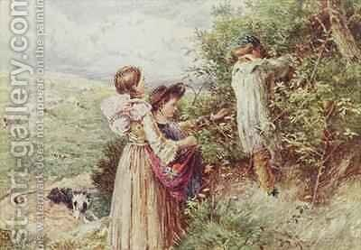 Children picking blackberries by Myles Birket Foster - Reproduction Oil Painting