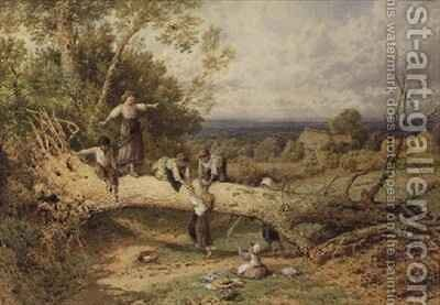 Children Playing on a Fallen Tree by Myles Birket Foster - Reproduction Oil Painting