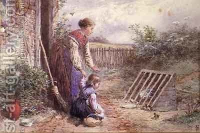 The Hen Coop by Myles Birket Foster - Reproduction Oil Painting