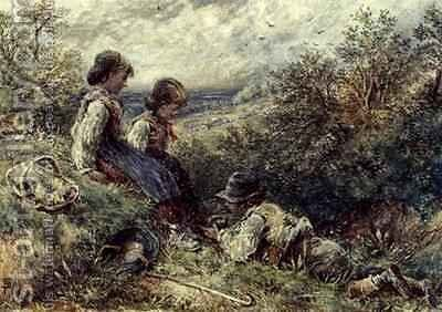 Children collecting eggs by Myles Birket Foster - Reproduction Oil Painting