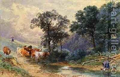 At the Stream by Myles Birket Foster - Reproduction Oil Painting