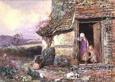 At the Cottage Door by Myles Birket Foster - Reproduction Oil Painting
