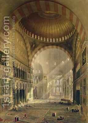 Haghia Sophia plate 24 interior of the central dome with lowered chandeliers by (after) Fossati, Gaspard - Reproduction Oil Painting