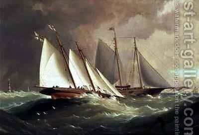 Esmerelda and Alarm off the Eddystone Lighthouse by H. Forrest - Reproduction Oil Painting