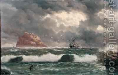 Stormy Coastal Scene by Capt. John Haughton Forrest - Reproduction Oil Painting