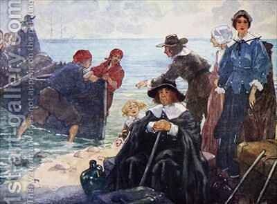 A band of exiles moord their bark on the wild New England shore by A.S. Forrest - Reproduction Oil Painting
