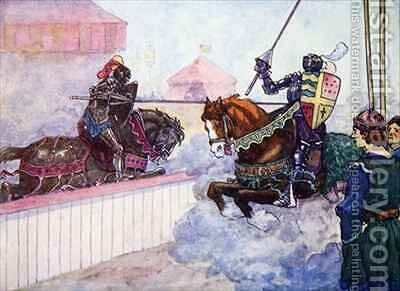 The Count rode again and again at Edward till his lance was splintered in his hand by A.S. Forrest - Reproduction Oil Painting