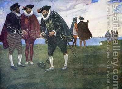 There is time to finish the game and beat the Spaniards too said Drake by A.S. Forrest - Reproduction Oil Painting