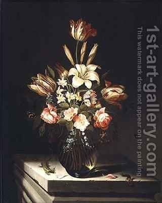 Still Life of Flowers in a Glass Vase by Jan Baptist van Fornenburgh - Reproduction Oil Painting