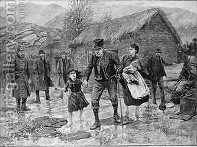 Scene at an Irish Eviction in County Kerry by Amedee Forestier - Reproduction Oil Painting