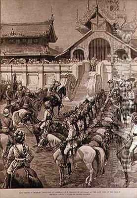 Our Troops in Burmah Reception of General F Roberts in Mandalay at the East Gate of the Palace by Amedee Forestier - Reproduction Oil Painting