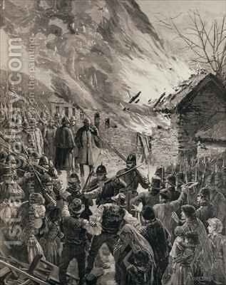 The Rent War in Ireland Burning the Houses of Evicted Tenants at Glenbeigh County Derry by Amedee Forestier - Reproduction Oil Painting