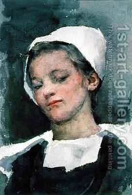 Louise a Breton Girl by Elizabeth Stanhope Forbes - Reproduction Oil Painting