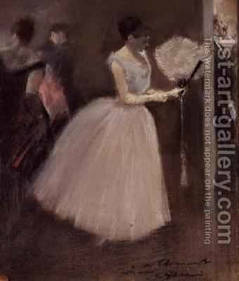 Woman in White with a Fan by Jean-Louis Forain - Reproduction Oil Painting