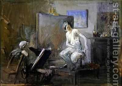 The painter with his model by Jean-Louis Forain - Reproduction Oil Painting