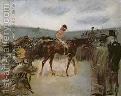 At the races by Jean-Louis Forain - Reproduction Oil Painting